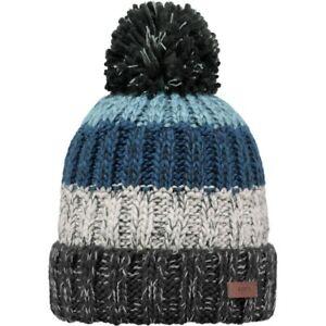 Mens Barts Wilhelm Bobble Knit Beanie Ski Hat Charcoal / Blue