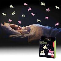 Glow In Dark 24 UNICORN Stickers Luminous Kids Bedroom Nursery Ceiling Wall UK