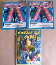 3 Vintage Gumball Vending Machine Display Cards ~ Puzzle Cubes,Rings