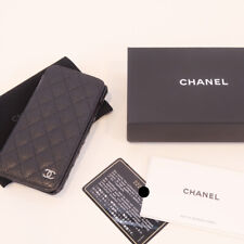 CHANEL iphone 6 case black caviar leather silver hardware CC logo phone wallet
