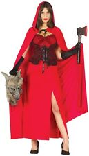 Ladies Sexy Long Little Red Riding Hood Halloween Fancy Dress Costume Outfit