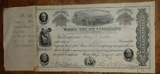 old 4 share stock certificate Ware Trust Co
