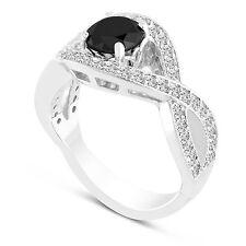 1.52 Carat  Enhanced Black Diamond Cocktail Ring 14k White Gold Unique