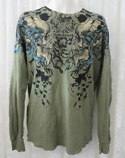 extreme couture AFFLICTION TEE SHIRT Henley GREEN Long Sleeve LARGE SKULL