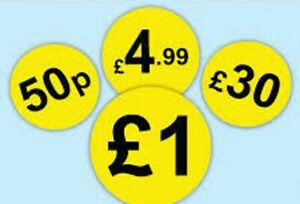 Your price stickers / price labels/ yellow printed in black your price detail