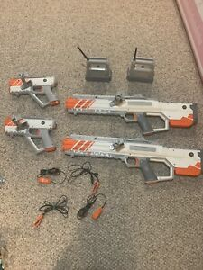 Recoil Multiplayer Starter Set - Laser Tag - 4 Guns & 2 Hubs—tested Working