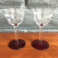 x2 Vintage Floral Etched Stemmed Sherry / Cordial Glasses w/ Candy Red Base