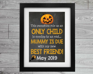 Halloween Pregnancy Baby Announcement Chalkboard Style Printed Sign Poster Gift