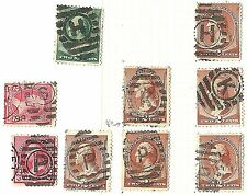 US Bank Note Stamp Types w/NYC PO Station ELLIPSE Fancy Cancels ~ ID=Cole #EL-86