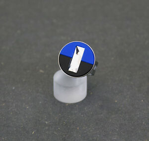 Ring blau schwarz  mit Swarovski Kristall der Firma Coeur de Lion / Ringgröße 58