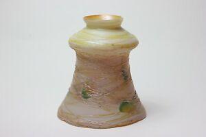 Vintage Luster Art Glass Iridescent Shade Gold Threaded