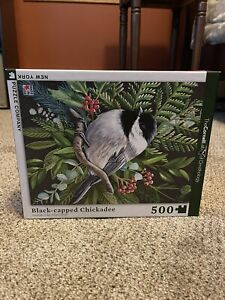 "Black-capped Chickadee 500 piece puzzle New York Puzzle Company 18"" x 24"""
