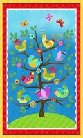 "Fabric Birds Flights of Fancy on White Cotton Panel 24""x44"""
