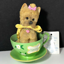 Hamilton Collection Dog Figurine Brimming with personali tea Happiness tea cup
