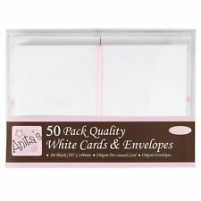 Anitas White A6 Cards and Envelopes in White Pack of 50