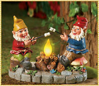 Solar Lighted Camp Fire Light Garden Gnomes Figurine Statue Lawn Yard Art Decor
