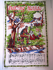 The Jolly Swagman Tea Dish Towel Waltzing Matilda Song Music Australia Souvenir