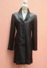 Ladies Black Leather Coat UK 14 Military 42 Trench Knee Goth Punk Button Real