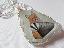 "Baby fox and badger necklace hand painted english sea glass 18"" silver chain"