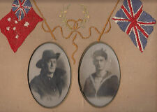WW1 ANZAC real photo postcard pair of brothers in embroided fabric 33x33cm frame