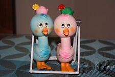 NinoHira Vintage Squeak Toys Japan Pink Blue Ducks 1960's - 1970's