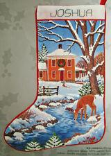 "Candamar ""Christmas Deer Scene� Crewel Embroidery Stocking Kit"