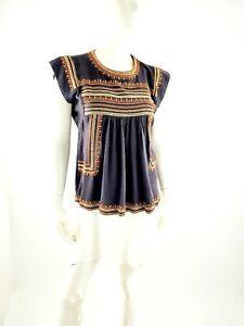 Isabel Marant Etoile Dark Gray Orange Cream Silk  Top Blouse Shirt 36