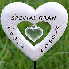 Sadly Missed Special Gran Love Heart Memorial Tribute Stick Graveside Plaque
