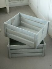 2 x pale grey wooden crates