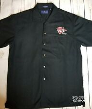 Full Tilt Poker Shirt Button Front Casual Shirt S/S Sewn Spellout Sz Small Black