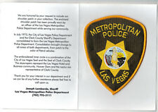 Las Vegas Police (Nevada) Shoulder Patch on a Department History Card