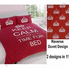 KEEP CALM & CARRY ON IT'S TIME FOR BED RED SINGLE DUVET COVER NEW