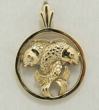 14K solid  yellow gold Pisces  Zodiac pendant in a circle.