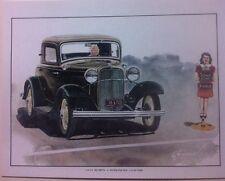 """1932 Ford 3 Window Coupe"" Illustration 8x10 Reprint Garage Decor"