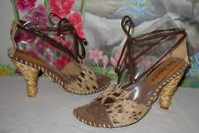 New PALOMA BARCELO Calf & Brown Suede Sandals 8 / EU 38