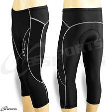Ladies Cycling Shorts Padded Three Quarter 3/4 Coolmax Legging Black S- M- L- XL