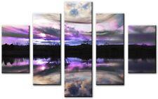 5 Panel Tot 115x80cm Large ABSTRACT Wall  ART CANVAS  DIGITAL Lake 2 Purple
