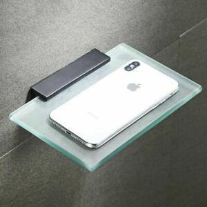 Wall Mounted Shower Caddy Black Aluminum Bathroom Shelf Phone Holder Glass Shelf