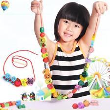 60Pcs String Wooden Lacing Threading Beads Intelligence Education Toys NO BOX