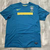 Brasil World Cup NIKE Dri Fit Soccer Teal Yellow Jersey Mens Large Brazil Futbol