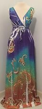 Sam & Max Sleeveless Maxi Dress Size Medium V-neck Paisley Floral Sublimated