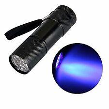 Aluminium UV Ultra Violet 9 LED Blacklight AAA Flashlight Torch Light Lamp