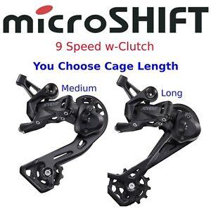 microSHIFT Advent 9 Speed Rear Derailleur Bike Cage Medium or Long w-Clutch