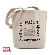 Lavoro a maglia Tote Bag, ho Lavorato a Maglia, qual è il tuo superpotere? Shopping Bag, Borsa per la vita.