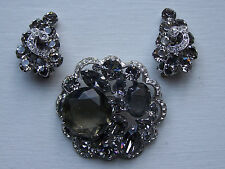 Vtg Weiss Snd Smoke Gray & Clear Pave Rhinestone Brooch & Earring Set - Wow -232