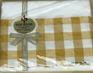 NEW Vintage Dan River Double Full Sheet Percale Cotton 81 x 108 Checked Trim