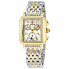 New Michele Deco White MOP Diamond Dial Two-Tone Steel Ladies Watch MWW06P000122