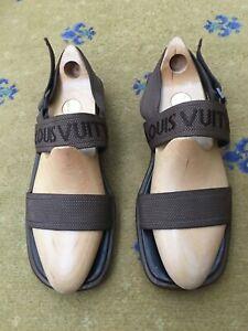 Louis Vuitton Mens Sandals Brown Leather Canvas UK 10 US 11 EU 44 Shoes Slider