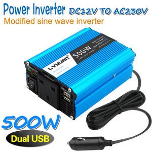 500w Power Inverter 12v to 240v 230V Converter Car Vehicle Adapter 2USB UK