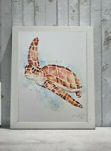 New Elle Smith large original signed watercolour art painting of a Sea Turtle